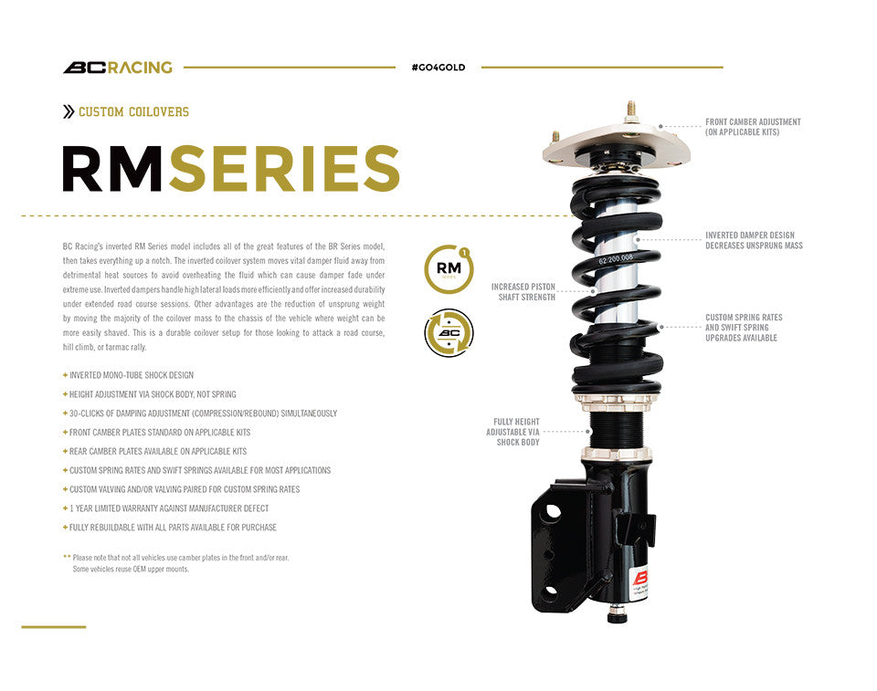 BC Racing Inverted Monotube Coilover Features