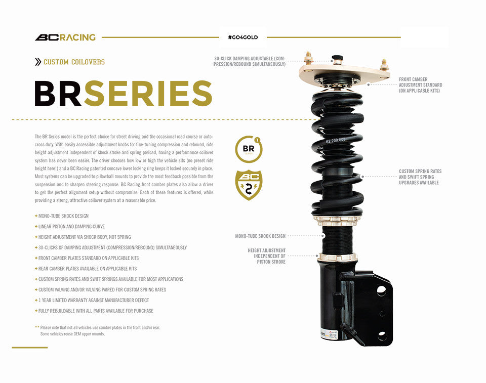 BC Racing coilover features for the Focus E-21-BR