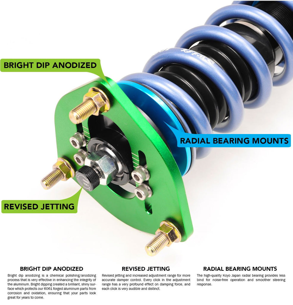 01-06 BMW M3 (E46) Fortune Auto - Dreadnought Pro 2-Way Coilovers