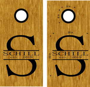 StickerChef Monogram Family Name Anniversary Cornhole Board Decals Stickers - Extra Large (2 Decals) - Wall Decals - Vinyl Stickers - Custom Text