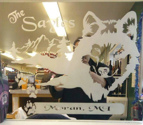 wolf etched mirror