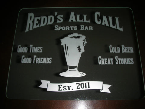 sports bar etched mirror