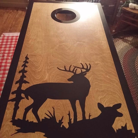 deer cornhole decal