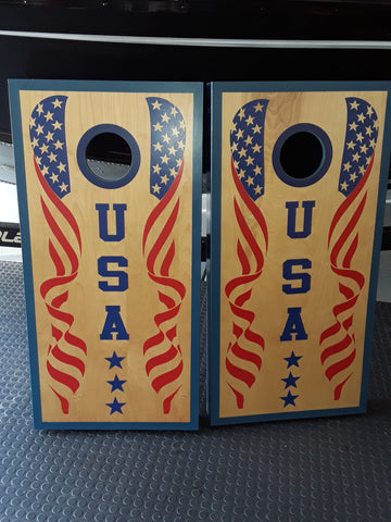 USA flag cornhole