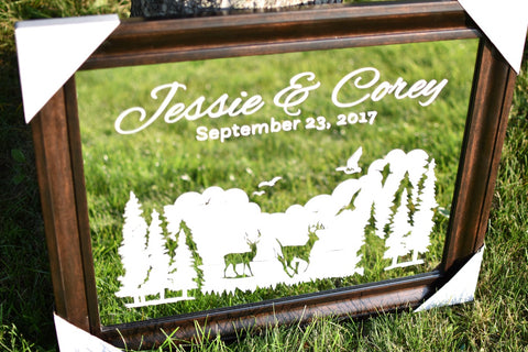 wedding anniversary etched mirror