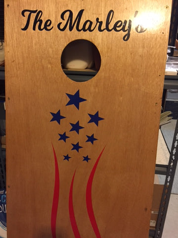 USA flag cornhole decal