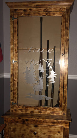 gun cabinet vinyl etched decal