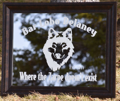 wolf wolves etched mirror