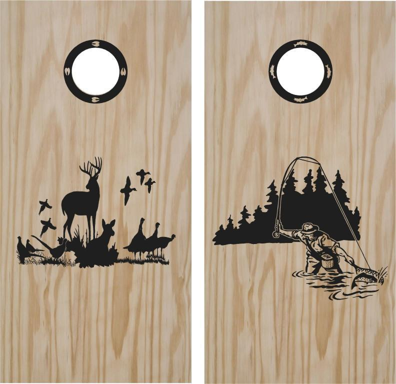 Hunting And Fishing Turkey Cornhole Board Vinyl Decal