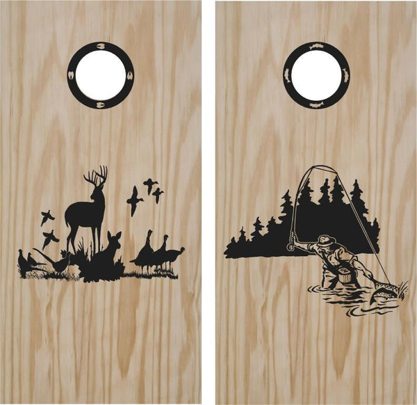 Hunting and Fishing Turkey Cornhole Board Vinyl Decal Sticker
