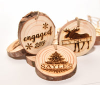 Live Edge Wood Engraved Ornament Custom Personalized Christmas Gift