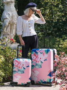 2 pcs CALPAK floral print luggage set: carry on and large suitcase