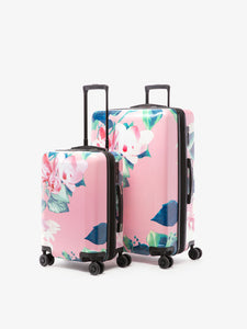 2 piece CALPAK floral print luggage set: carry on and large suitcase