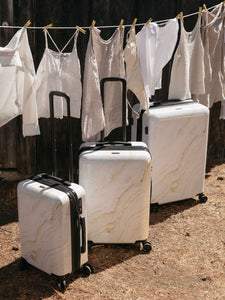 Gold Marble 3-Piece Luggage Set