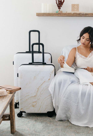 Gold Marble Medium Luggage