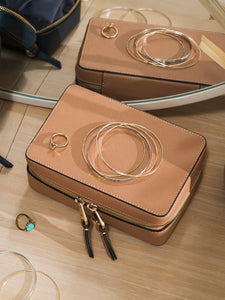 travel zippered jewelry box in caramel color