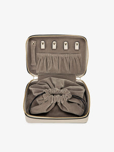 beige travel jewelry box