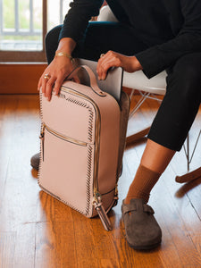 pink blush CALPAK Kaya laptop backpack for women