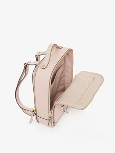 pink blush CALPAK Kaya laptop backpack with open compartment - top view