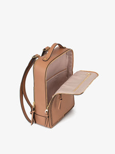 caramel brown CALPAK Kaya laptop backpack for women with zippered compartments