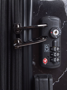 CALPAK Astyll black marble large checked luggage: built in TSA lock