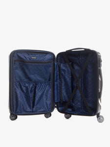 black marble large checked suitcase with compression straps