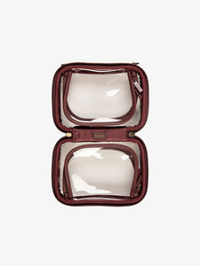CALPAK small transparent cosmetics case with zippered compartments in burgundy