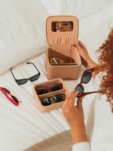 CALPAK hard multiple glasses case with mirror in caramel color