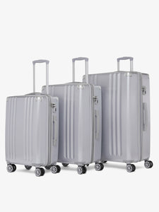 CALPAK Ambeur silver medium 26 inch hard shell rolling suitcase as a part of luggage set