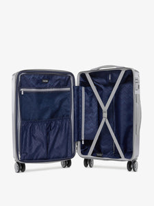 CALPAK Ambeur silver medium sized expandable suitcase with compression straps