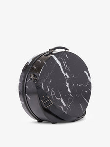 CALPAK Baye Large Hat Box for travel in black marble color - 19 inches-side view