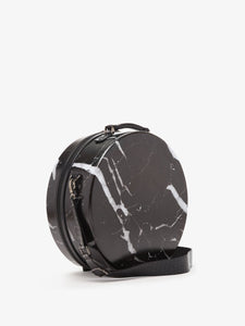 CALPAK Baye Medium Hat Box for travel in black marble color - 16 inches - side view