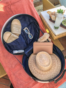 straw sun hat and accessories in CALPAK Baye Medium Hat Box