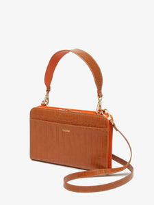 CALPAK cognac brown faux crocodile leather travel wallet, purse and clutch with crossbody strap