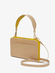 CALPAK beige sand faux crocodile leather travel wallet, purse and clutch with crossbody strap
