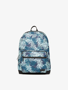 Blue CALPAK Glenroe backpack with palm leaf print