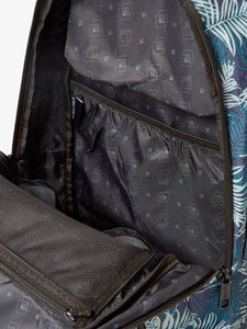 Compartments of blue CALPAK Glenroe backpack with palm print