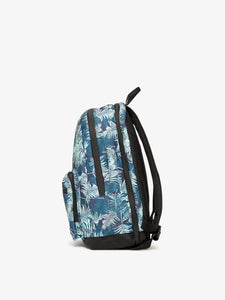 Blue CALPAK Glenroe backpack with palm leaf print - side view