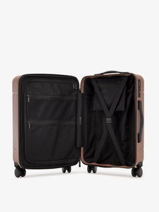 the interior of CALPAK Hue hard shell carry-on spinner luggage in brown hazel color