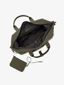 green moss CALPAK Hue duffel bag - interior compartments and laptop pocket