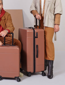 30 inch expandable hard shell luggage with TSA approved built in locks in brown hazel color from CALPAK Hue collection