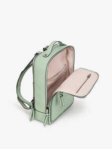 mint CALPAK Kaya laptop backpack with open compartment