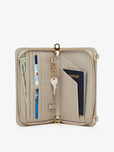 open beige stone blush CALPAK travel passport wallet for women with rfid blocker