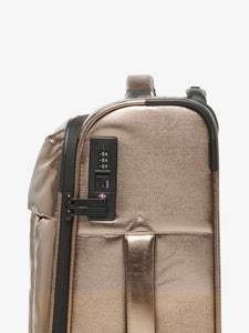 bronze CALPAK Luka softside carry on luggage with TSA lock