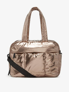 gold bronze CALPAK Luka duffel bag and weekender for women