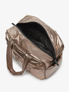 open gold bronze CALPAK Luka duffel bag for women