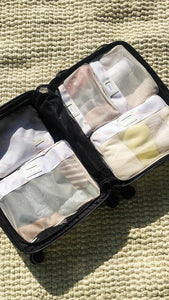 CALPAK 5 piece packing cubes set in a suitcase