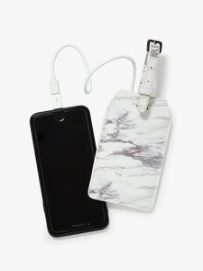 stylish fashion CALPAK power luggage tag in white marble color with travel battery inside
