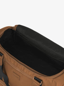 open interior brown hazel CALPAK Stevyn duffel bag