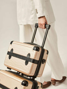 CALPAK TRNK nude travel vanity case with rolling carry on